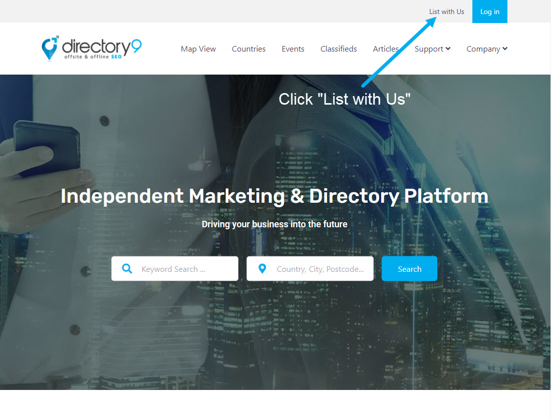 directory9 List with Us Banner ad
