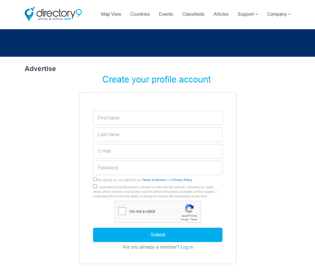 directory9 creating profile account for banner ad